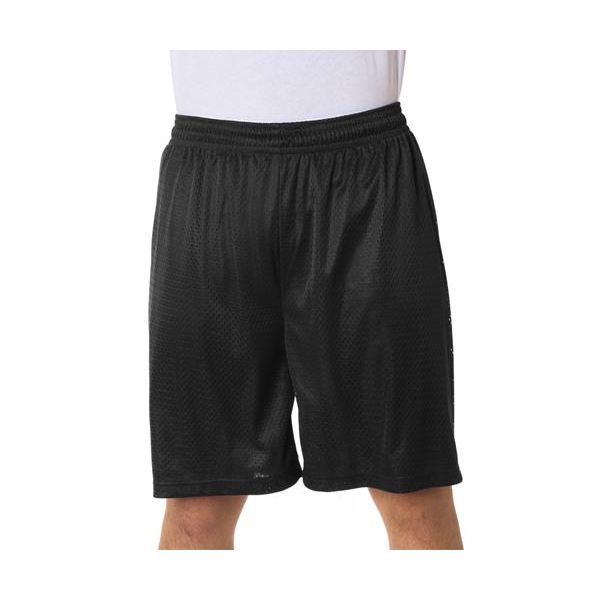 7209 Badger Adult Poly Mesh/Tricot 9-Inch Shorts  - 7209-Black