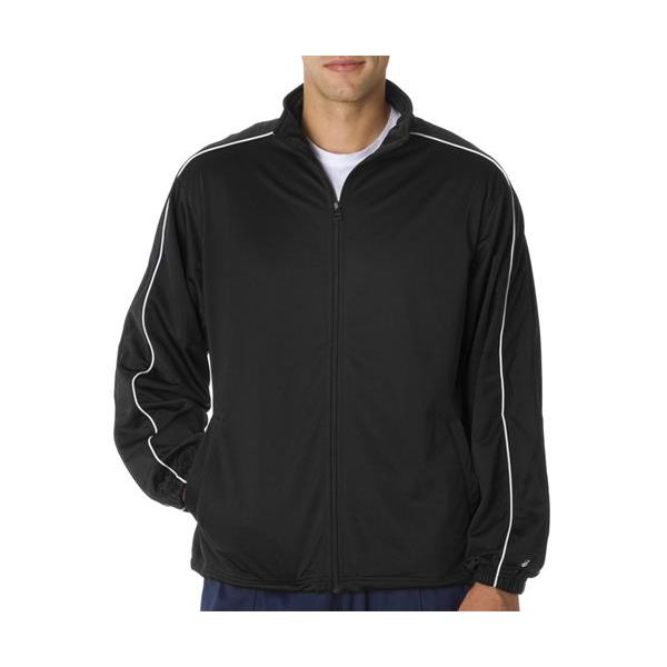 7701 Badger Adult Brushed Tricot Razor Jacket  - 7701-Black/ White