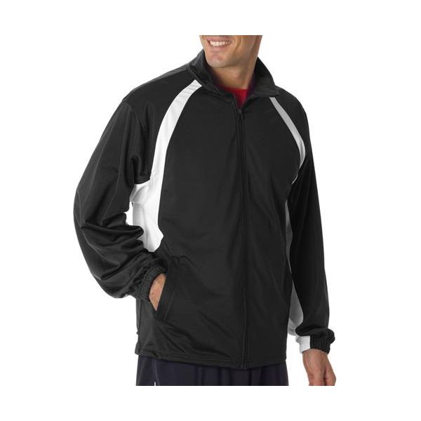 7702 Badger Adult Brushed Tricot Hook Jacket  - 7702-Black/ White