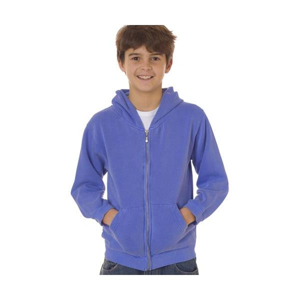 7755 Chouinard Youth Full-Zip Hooded Sweatshirt  - 7755-Flo Blue PgmDye