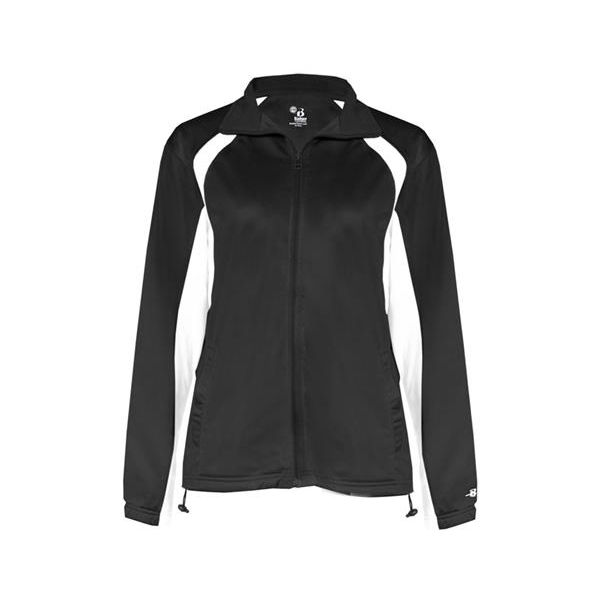 7902 Badger Ladies' Hook Brushed Tricot Polyester Full Zip Jacket  - 7902-Black/ White