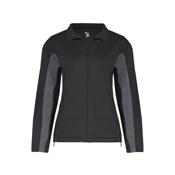 7903 Badger Ladies' Drive 100% Brushed Tricot Polyester Jacket  - 7903-Black/ Graphite