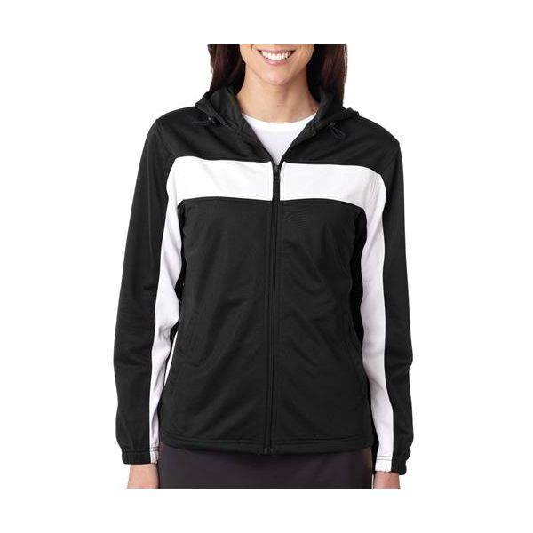 7905 Badger Ladies' Brushed Tricot Hooded Jacket with Body and Sleeve Panels  - 7905-Black/ White