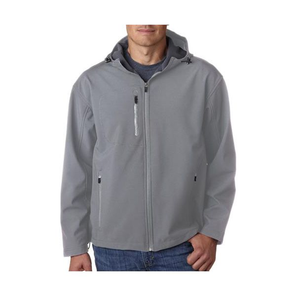8281 UltraClub® Adult Polyester Soft Shell Jacket with Hood  - 8281-Medium Grey