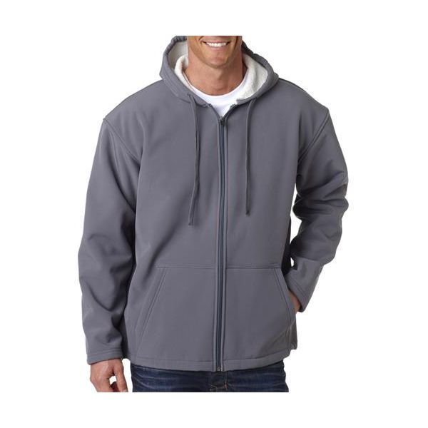 8285 UltraClub® Adult Blend Sherpa Soft Shell Jacket  - 8285-Medium Grey