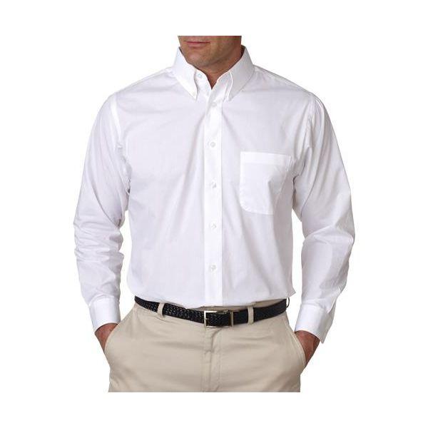 8330 UltraClub® Men's Blend Performance Poplin Woven Shirt  - 8330-White