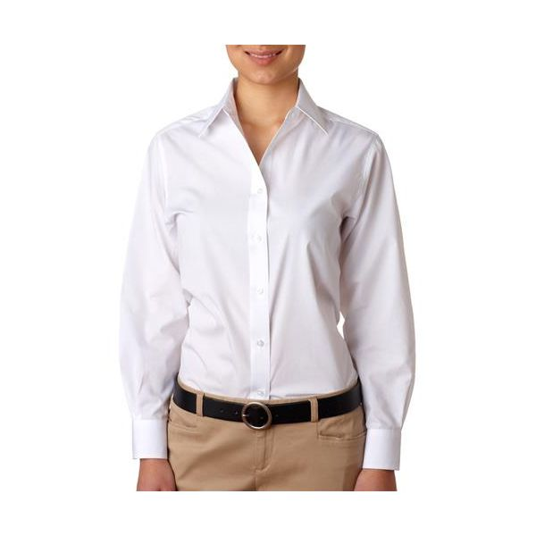 8331-White -   8331 UltraClub® Ladies' Blend Performance Poplin Woven Shirt(p. 455)   Wrinkle-free and stain-repellant makes this a traveler?s favorite. Coordinate: Men's 8330  easy care 60% cotton/40% polyester 3.3-oz. wrinkle-free stain and soil repellant top fused center placket collar and cuffs double-needle side-seam stitching dyed-to-match buttons spread collar lightweight Sizes: S-2XL, view colors Colors: black, French blue, red, white