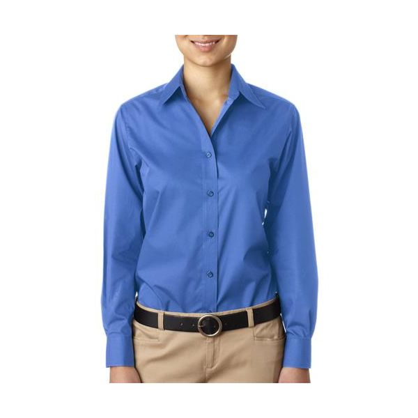 8331-French Blue -   8331 UltraClub® Ladies' Blend Performance Poplin Woven Shirt(p. 455)   Wrinkle-free and stain-repellant makes this a traveler?s favorite. Coordinate: Men's 8330  easy care 60% cotton/40% polyester 3.3-oz. wrinkle-free stain and soil repellant top fused center placket collar and cuffs double-needle side-seam stitching dyed-to-match buttons spread collar lightweight Sizes: S-2XL, view colors Colors: black, French blue, red, white