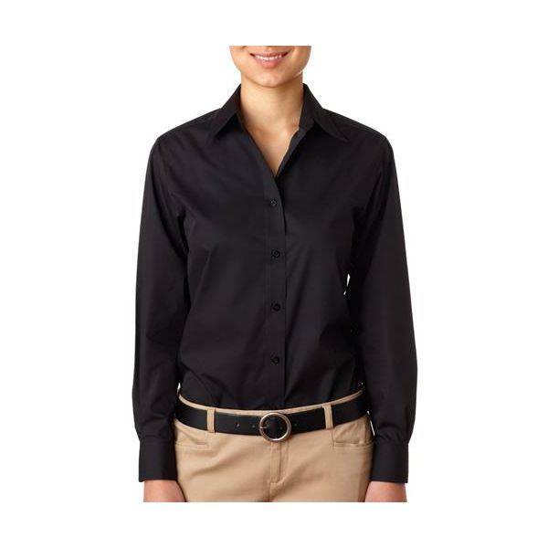 8331-Black -   8331 UltraClub® Ladies' Blend Performance Poplin Woven Shirt(p. 455)   Wrinkle-free and stain-repellant makes this a traveler?s favorite. Coordinate: Men's 8330  easy care 60% cotton/40% polyester 3.3-oz. wrinkle-free stain and soil repellant top fused center placket collar and cuffs double-needle side-seam stitching dyed-to-match buttons spread collar lightweight Sizes: S-2XL, view colors Colors: black, French blue, red, white