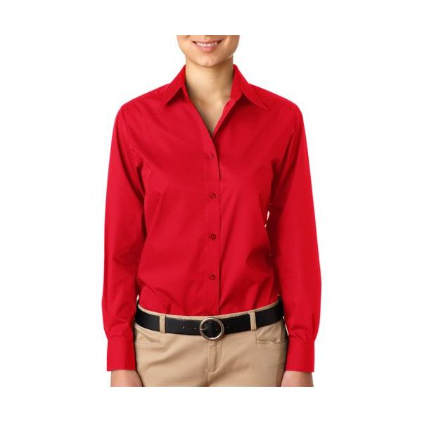 8331-Red -   8331 UltraClub® Ladies' Blend Performance Poplin Woven Shirt(p. 455)   Wrinkle-free and stain-repellant makes this a traveler?s favorite. Coordinate: Men's 8330  easy care 60% cotton/40% polyester 3.3-oz. wrinkle-free stain and soil repellant top fused center placket collar and cuffs double-needle side-seam stitching dyed-to-match buttons spread collar lightweight Sizes: S-2XL, view colors Colors: black, French blue, red, white
