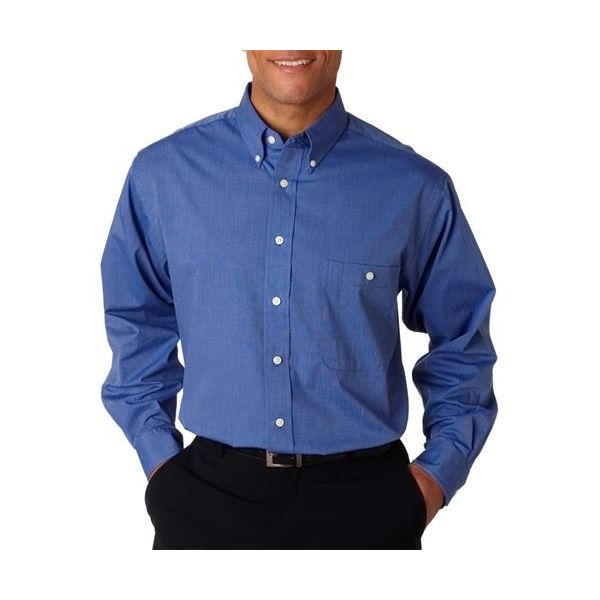 8340 UltraClub® Men's Wrinkle-Free End-on-End Blend Woven Shirt  - 8340-French Blue