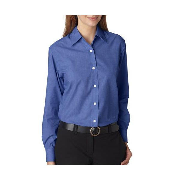8341 UltraClub® Ladies' Wrinkle-Free End-on-End Blend Woven Shirt  - 8341-French Blue