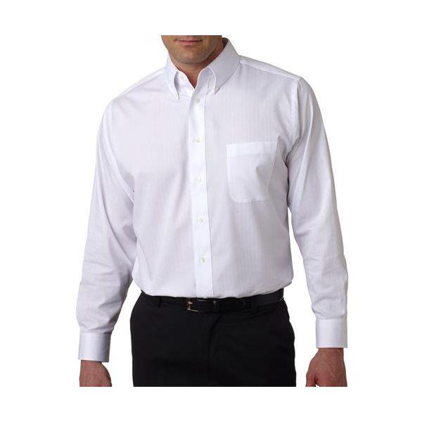 8365 UltraClub® Men's Blend Shadow Stripe Woven Shirt  - 8365-White