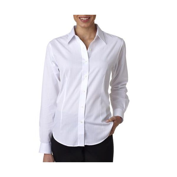 8366 UltraClub® Ladies' Blend Shadow Stripe Woven Shirt  - 8366-White