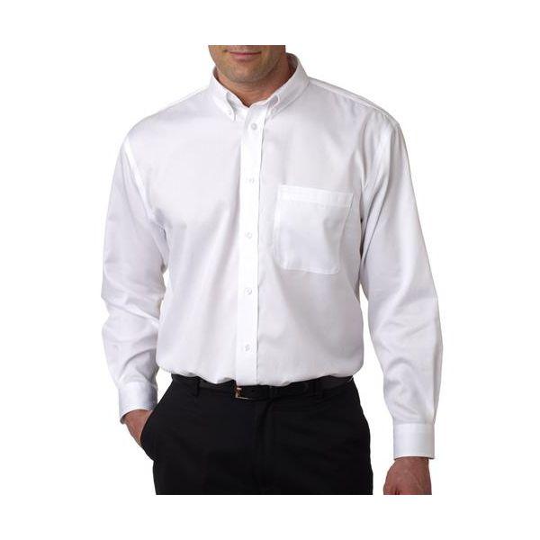8370 UltraClub® Men's Non-Iron Cotton Twill Woven Shirt  - 8370-White