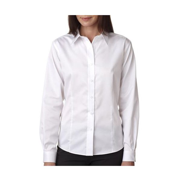 8371 UltraClub® Ladies' Non-Iron Cotton Twill Woven Shirt  - 8371-White