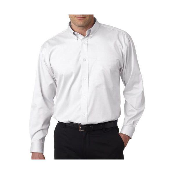 8380 UltraClub® Men's Non-Iron Cotton Pinpoint Woven Shirt  - 8380-White