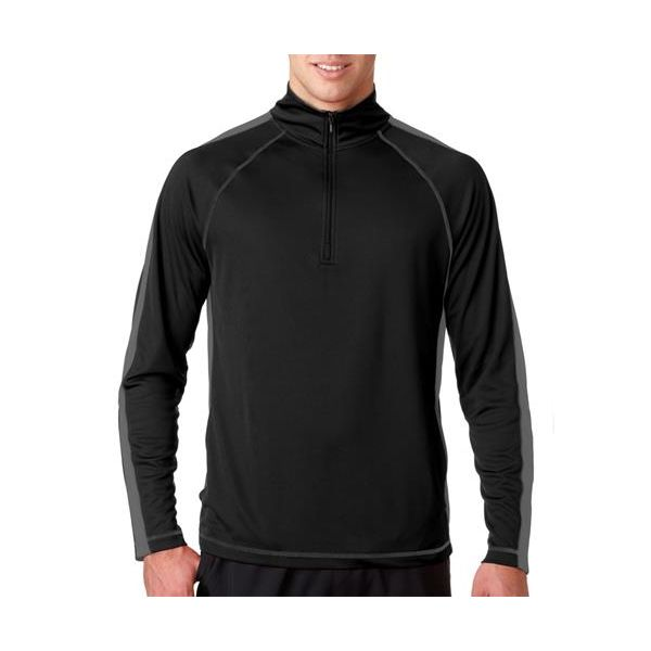 8398 UltraClub® Adult Cool & Dry Sport 1/4-Zip Performance Pullover  - 8398-Black/ Charcoal
