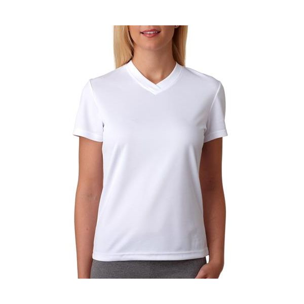 8400L UltraClub® Ladies' Cool & Dry Sport V-Neck Mesh Performance Tee  - 8400L-White