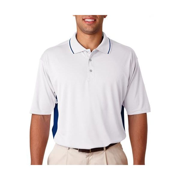 8406 UltraClub® Adult Cool & Dry Sport Two-Tone Mesh Performance Polo  - 8406-White/ Navy