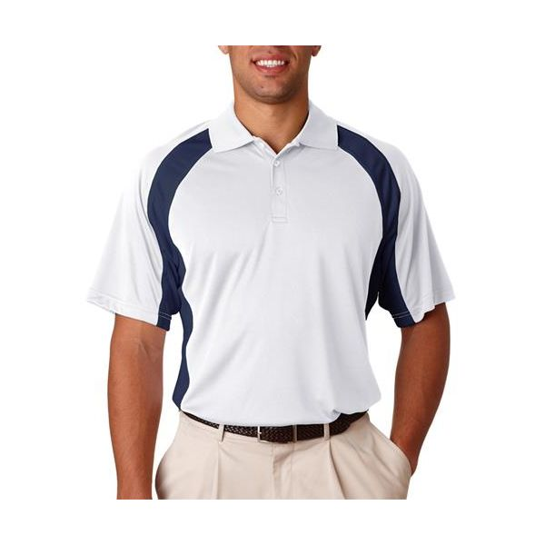 8427 UltraClub® Adult Cool & Dry Sport Performance Color Block Interlock Polo  - 8427-White/ Navy