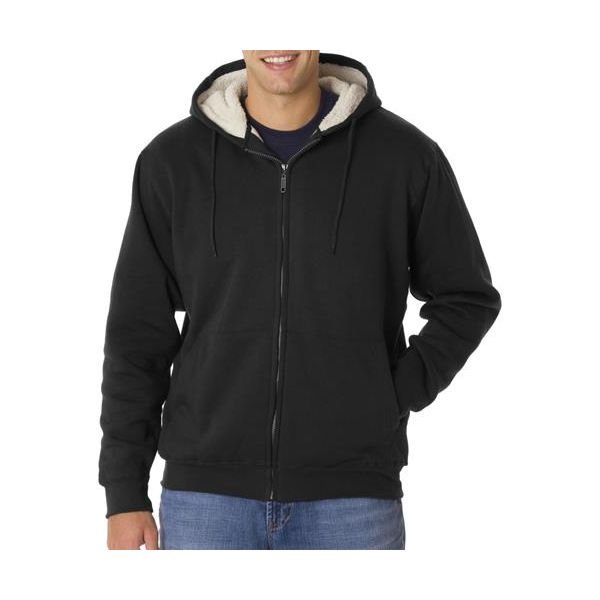 8450 UltraClub® Adult Sherpa-Lined Full-Zip Fleece with Hood  - 8450-Black