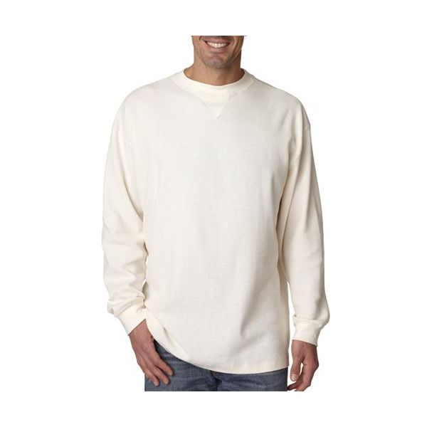 8455 UltraClub® Adult Mini Thermal Cotton Crewneck  - 8455-Off White