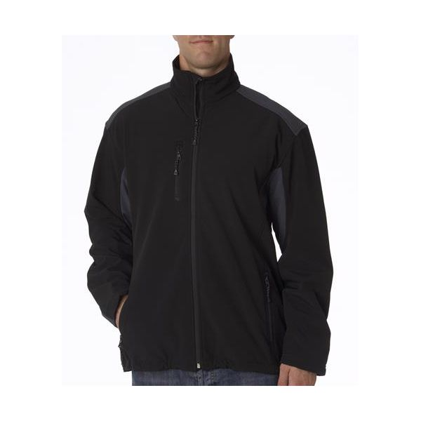 8479 UltraClub® Men's Blend Soft Shell Jacket  - 8479-Sand/ Black