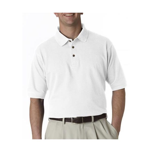 8535T UltraClub® Adult Tall Classic Pique Cotton Polo  - 8535T-White