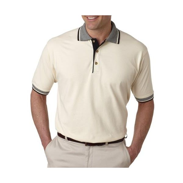 8537 UltraClub® Adult Color-Body Classic Pique Cotton Polo with Contrasting Multi-Stripe Trim  - 8537-Natural/ Black