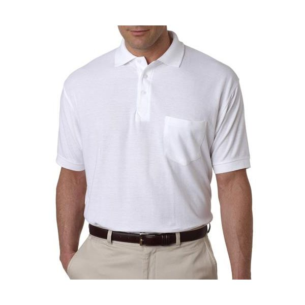 8544 UltraClub® Adult Whisper Pique Blend Polo with Pocket  - 8544-White