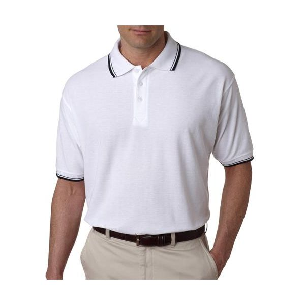 8545 UltraClub® Men's Short-Sleeve Whisper Pique Blend Polo with Rib Collar and Cuff Tipping  - 8545-White/ Black