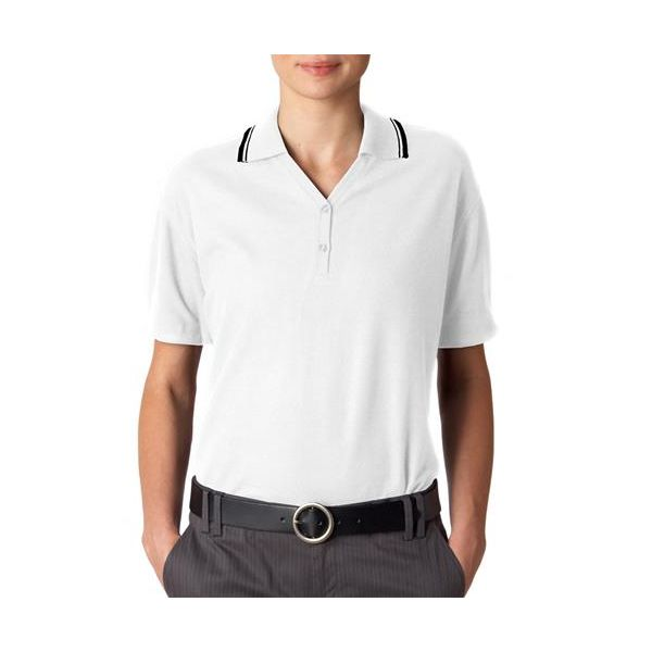 8546 UltraClub® Ladies' Short-Sleeve Whisper Pique Blend Polo with Rib Collar and Cuff Tipping  - 8546-White/ Black