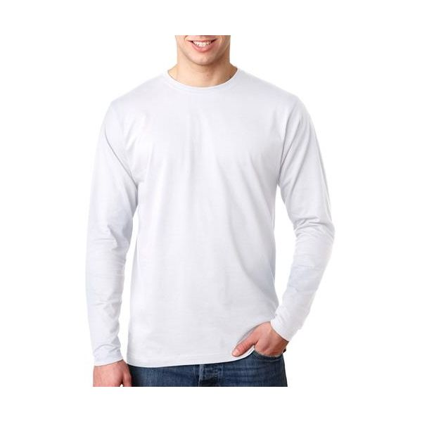 8601 UltraClub® Organic Men's Ring-Spun Organic Cotton Long-Sleeve Crewneck Tee  - 8601-White