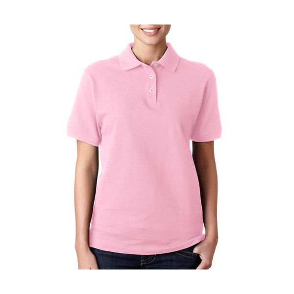 8680 Anvil Ladies' Ring-Spun Pique Cotton Polo  - 8680-Charity Pink&#153