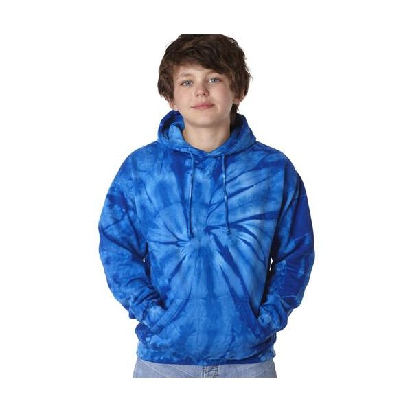 8777b tie-dyes Youth Cotton Spider Hoodie  - 8777B-Royal Spider