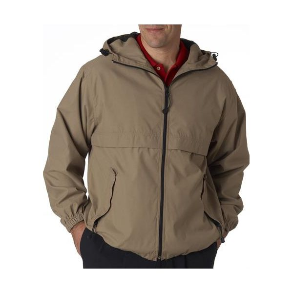 8908 UltraClub® Adult Microfiber Hooded Zip-Front Jacket  - 8908-Driftwood