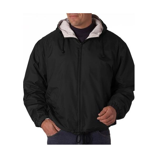 8915 UltraClub® Adult Nylon Fleece-Lined Hooded Jacket  - 8915-Black