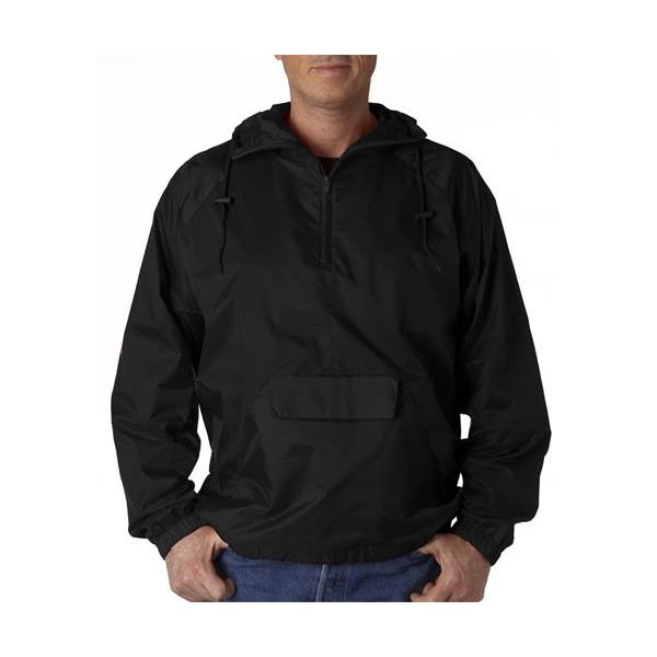 8925 UltraClub® Adult 1/4-Zip Hooded Nylon Pullover Pack-Away Jacket  - 8925-Black