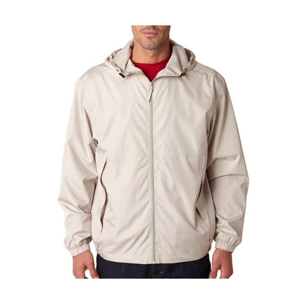 8935 UltraClub® Adult Micro-Polyester Full-Zip Jacket with Hood  - 8935-Sand