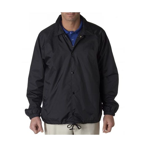8944 UltraClub® Adult Nylon Coaches Jacket  - 8944-Black