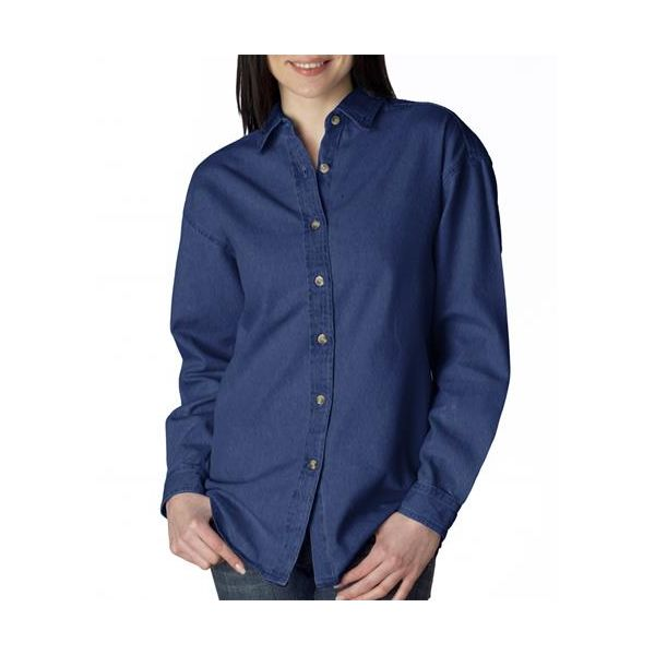 8966 UltraClub® Ladies' Long-Sleeve Cotton Cypress Denim Woven Shirt  - 8966-Indigo