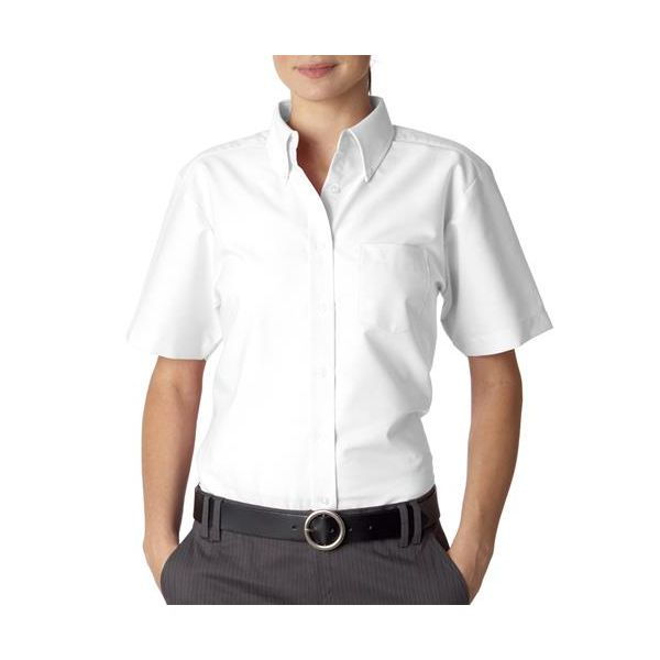 8973 UltraClub® Ladies' Classic Wrinkle-Free Blended Short-Sleeve Oxford Woven Shirt  - 8973-White