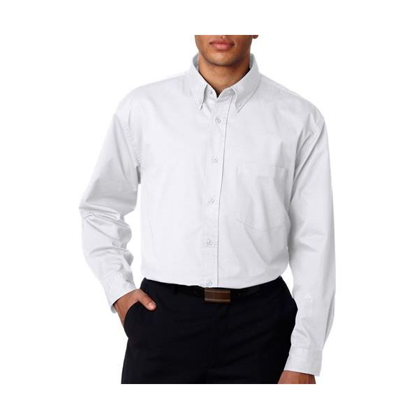 8975T UltraClub® Men's Tall Whisper Twill Blend Woven Shirt  - 8975T-White