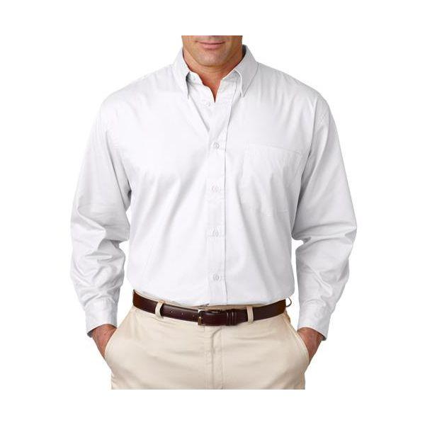 8975 UltraClub® Men's Whisper Twill Blend Woven Shirt  - 8975-White