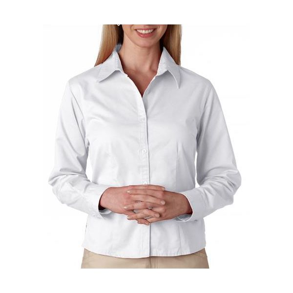 8976 UltraClub® Ladies' Whisper Twill Blend Woven Shirt  - 8976-White