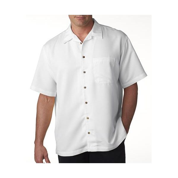 8980 UltraClub® Men's Blend Cabana Breeze Camp Shirt  - 8980-White