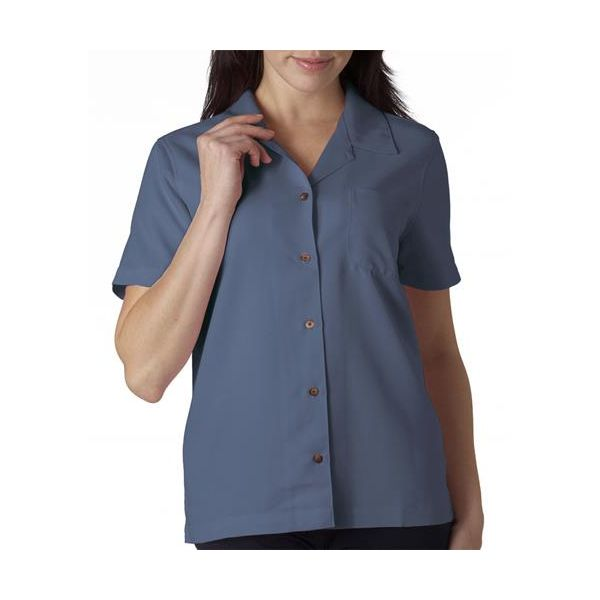 8981 UltraClub® Ladies' Blend Cabana Breeze Camp Shirt  - 8981-Wedgewood