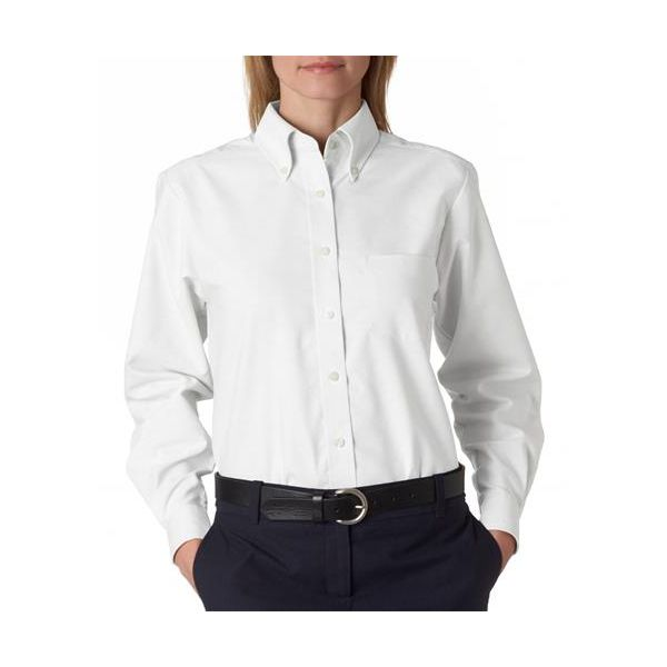 8990 UltraClub® Ladies' Classic Wrinkle-Free Blend Long-Sleeve Oxford Woven Shirt  - 8990-White