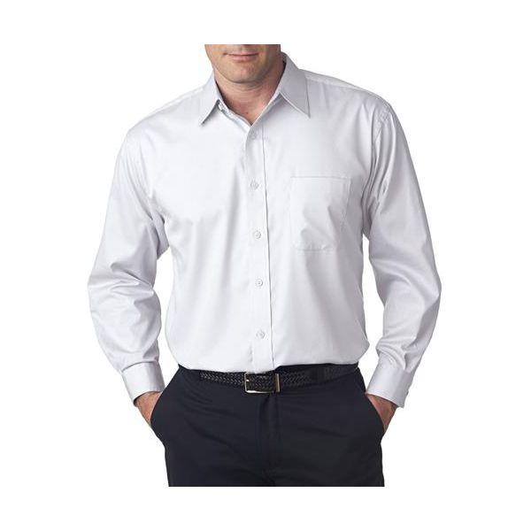 8991 UltraClub® Men's Whisper Elite Twill Blend Woven Shirt  - 8991-White